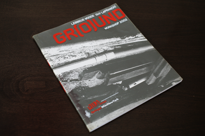 Cover of collaboration project with Lebbeus Woods: GROUND book. Unfolded Blue Extension Off CHASE HQ Building. Publication by Lebbeus Woods and Guy Lafranchi. Ed. Springer-Verlag, New York, USA.